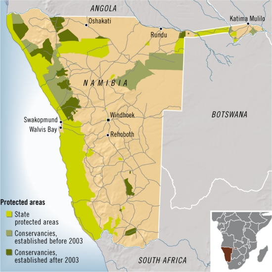 Namibia case study locator map with protected areas network