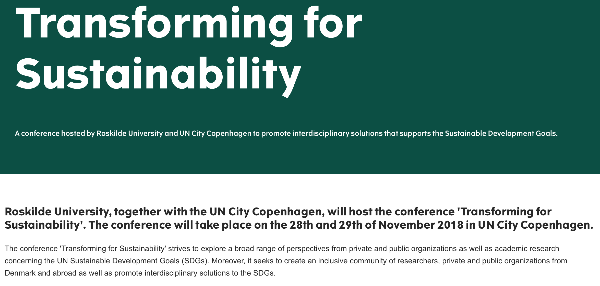 Transforming for Sustainability, A conference hosted by Roskilde University and UN City Copenhagen @ Roskilde University | Roskilde | Denmark