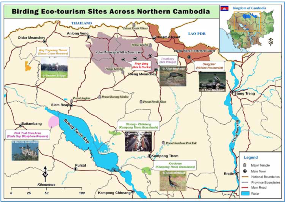Birding Eco-Tourism sites across Northern Cambodia