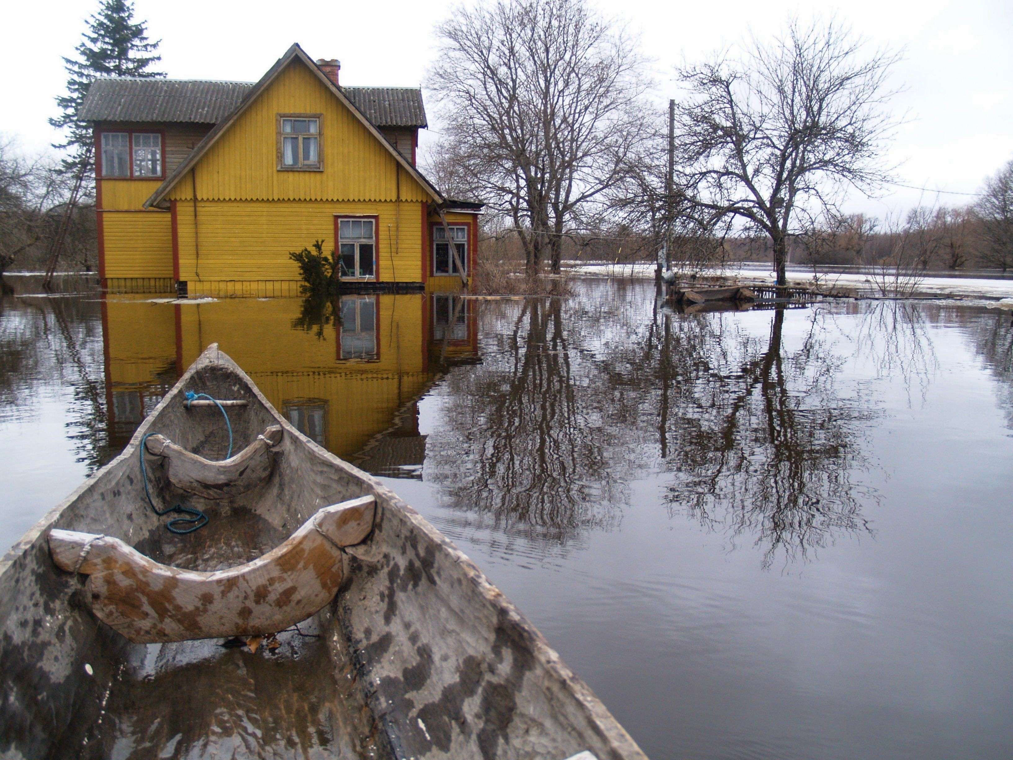 Dugout canoe traditionally used during flood season