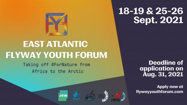 """Join the East Atlantic Flyway Youth Forum 2021!  """"Taking off #ForNature from Africa to the Arctic"""" @ East Atlantic Flyway Youth Forum 2021 (virtual event) 